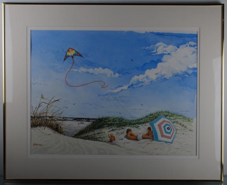 Leon Albert Gehorsam Beach Scene Watercolor