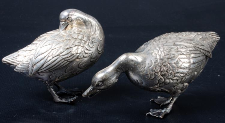 Silver Plated Duck Figures