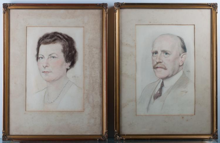 Emil Orlik Portrait Pair of a Man & Woman