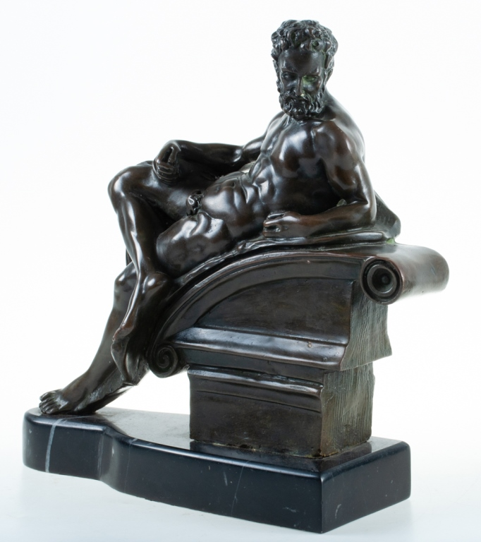 Bronze Figure of a Classical Nude Reclining Male