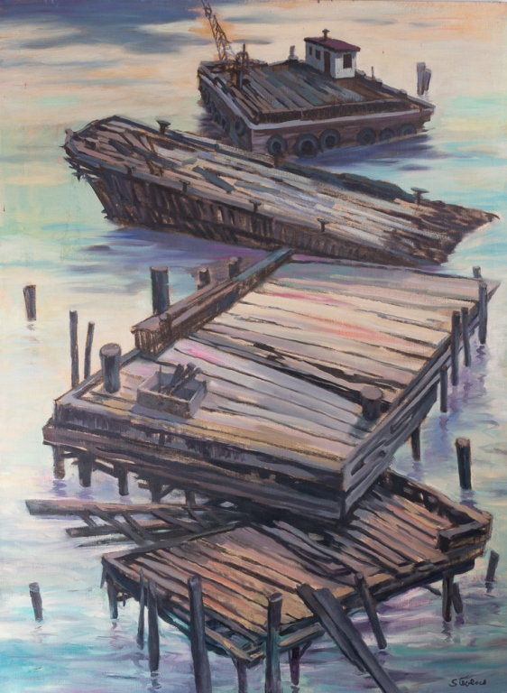 Stevens Barge & Pier Scene Oil on Canvas