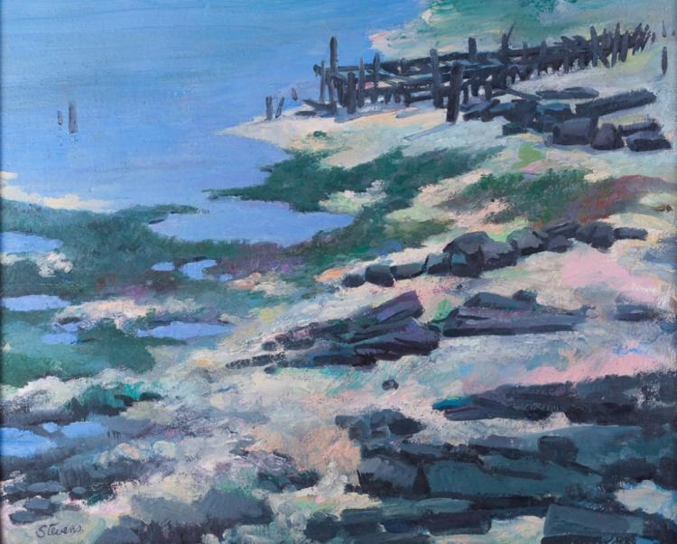 Stevens Coastal Pier Scene Oil on Canvas