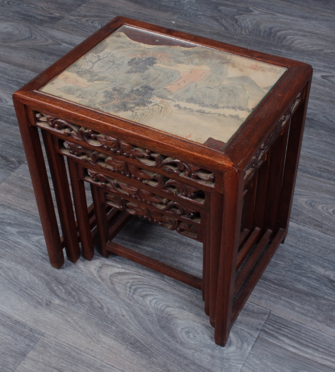 Chinese Carved Stacking Stands w/ Painting Inserts