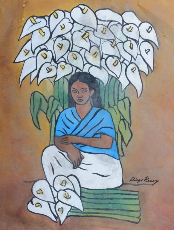 Diego Rivera Attrib. Tempera On Paper Vendedora