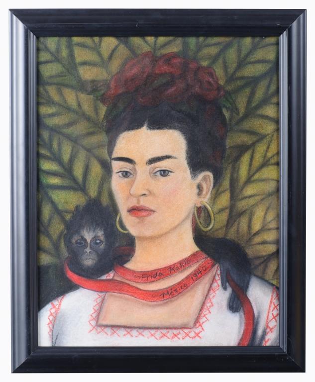 """Frida Kahlo """"Autorretrato"""" 1940 Mixed Media"""