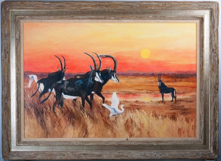 "Tara Moore ""Sable Antelope"" Oil on Canvas Painting"