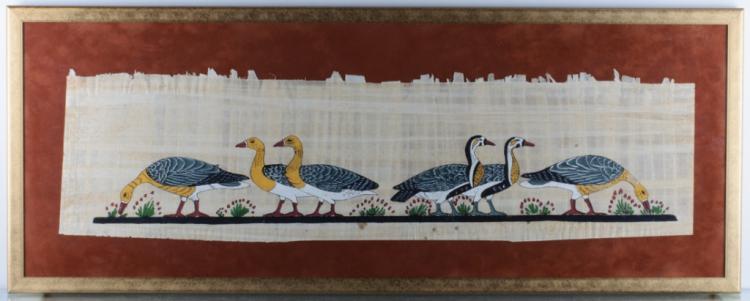 Gouache on Papyrus, Egyptian Style, Geese