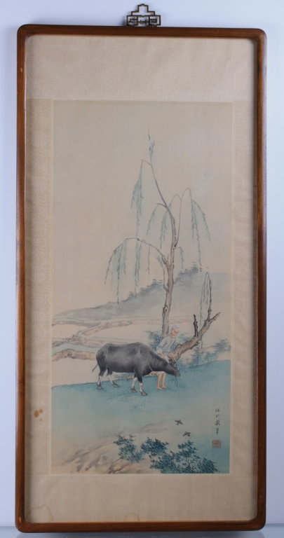 Chinese Scroll Painting of Man with Water Buffalo