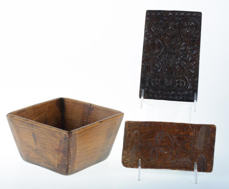 Pennsylvania Folk Art Duo & Chinese Wood Bowl