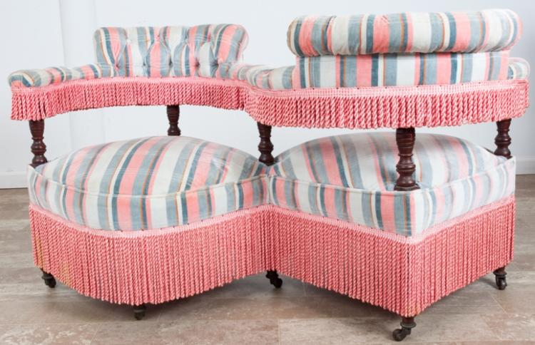 Victorian Upholstered Tete-a-Tete