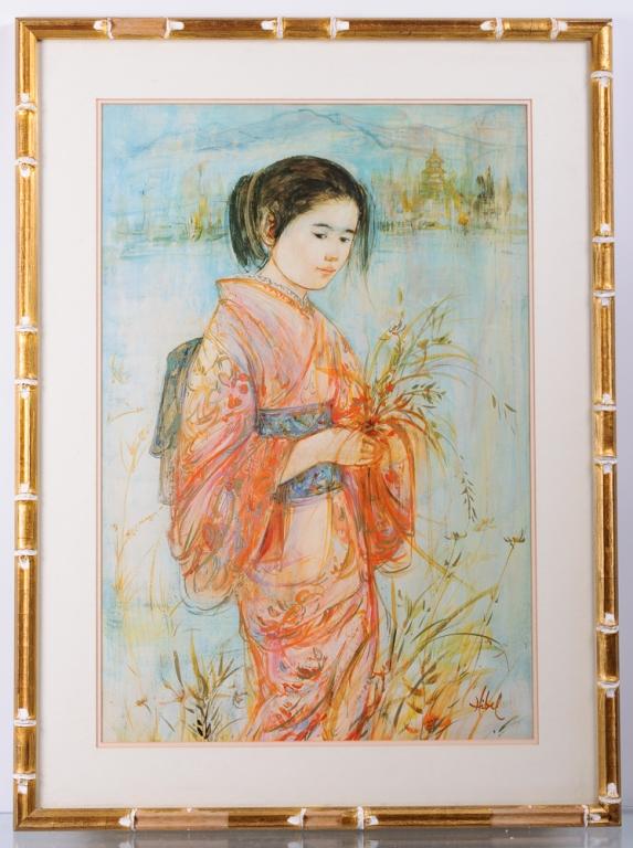 "Edna Hibel ""The Red Kimono"" 870/1000"