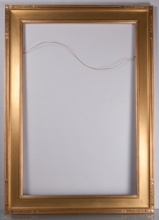"""Vintage Picture Frame 43"""" x 31"""", Gold Painted Wood"""