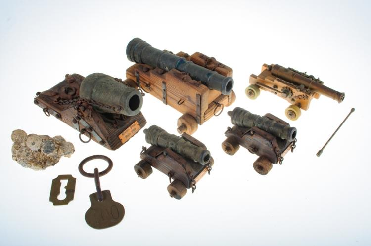 Antique Miniature Cannons, Five (5) & Accessories