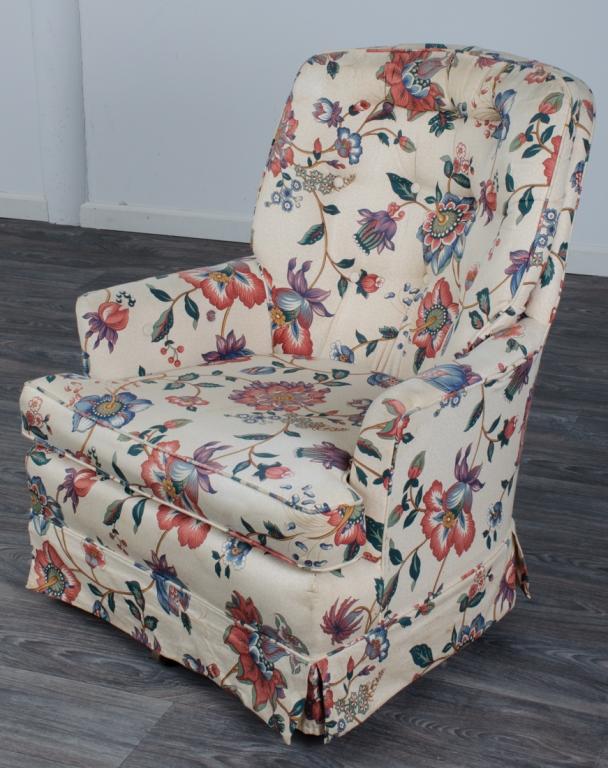 Jacobean Floral Print Swivel Rocker