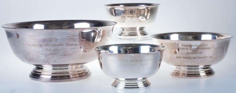 Gorham Silverplated Trophy Bowls, 4 P.