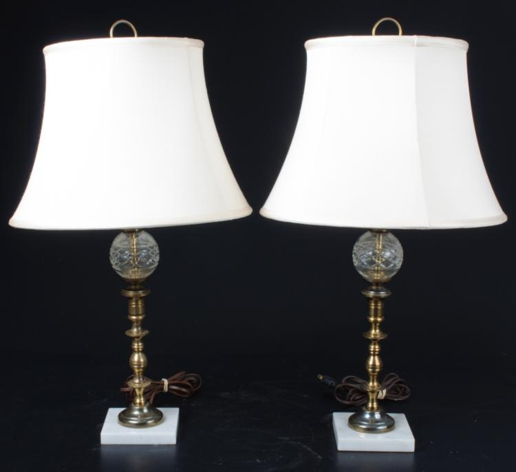 Cut Glass, Brass & Marble Lamps Pair