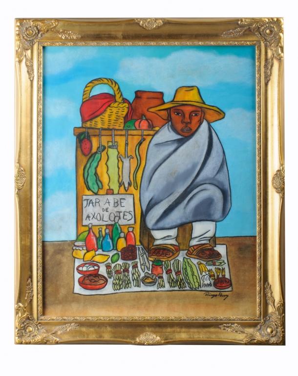 "Diego Rivera ""Curandero"" Mixed Media On Paper"