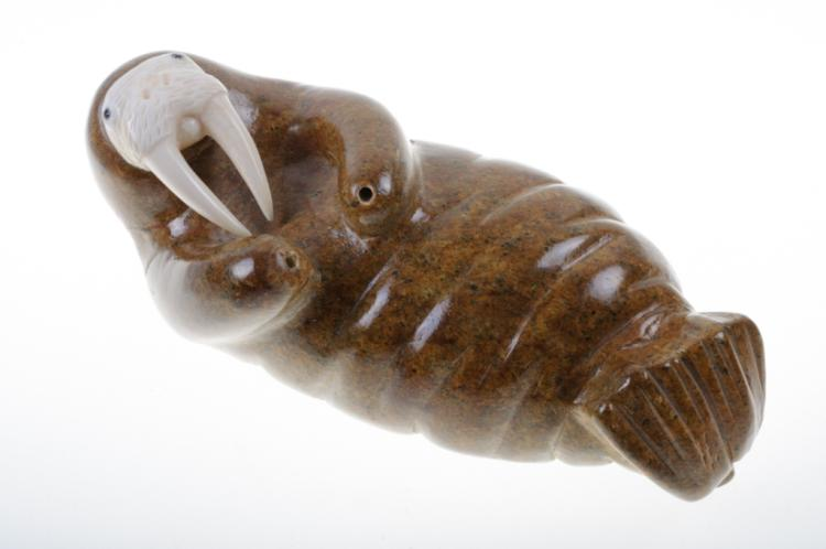Inuit Carved Stone and Walrus Ivory Figure