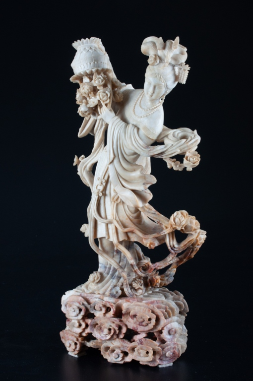 Chinese Soapstone Figure of Immortal Lan Caihe