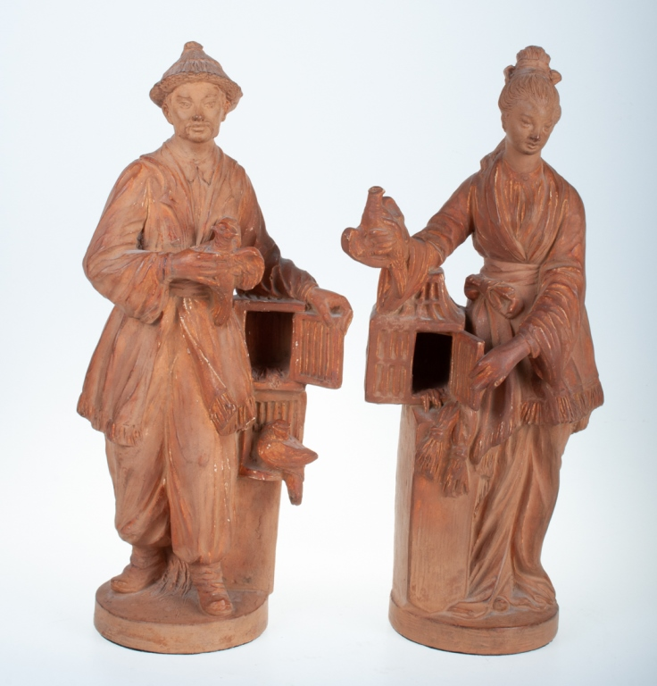 French Terra Cotta Chinoiserie Figures Pair