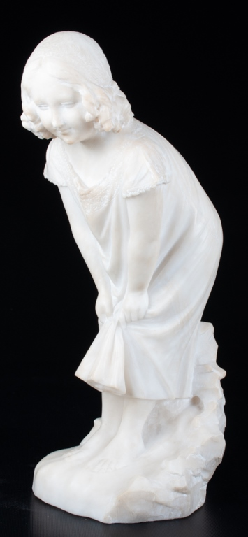 European School Carved Marble Statue 19th C