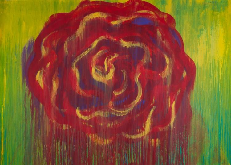 Cy Twombly Floral Abstract Acrylic On Canvas