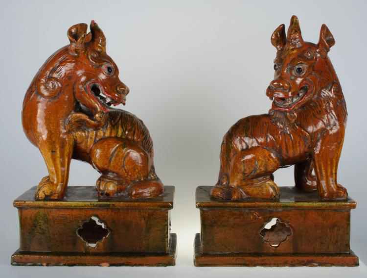 Chinese Terra Cotta Kylin Extra Large Figures Pair 19th C