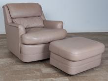 Hancock & Moore Leather Chair & Ottoman