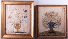 French Embroidered Pictures Pair, C 18th/19th C