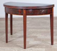 Federal Mahogany Demilune Folding Top Game Table