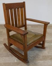 Arts & Crafts Tooled Leather Seat Rocking Chair