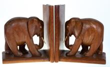 Hand Carved Wooden Elephant Bookends