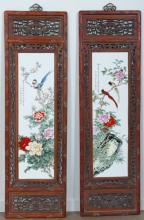 Chinese Wood and Porcelain Panels Pair