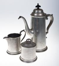 Viners of Sheffield Pewter Tea Set, E 20th C