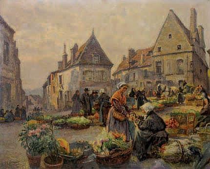 SILBERT Max, né en 1871 Jour de marché Huile sur