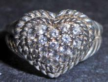 STERLING SILVER  WHITE TOPAZ RING - SIZE 10