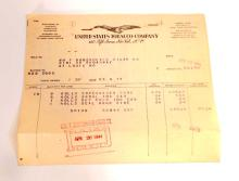LOT OF VINTAGE UNITED STATES TOBACCO COMPANY BILL HEADS / INVOICES