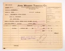 VINTAGE JOHN WEISERT TOBACCO COMPANY BILL HEADS / INVOICES
