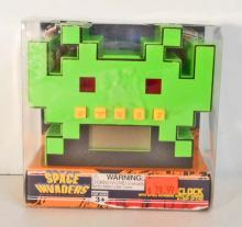 NEW SPACE INVADERS ALARM CLOCK W/ LIGHT UP EYES AND SOUNDS