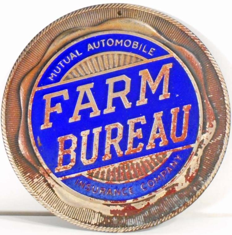 Vintage Farm Bureau Metal Enamel Advertising Plaque