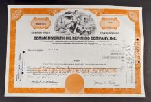 VINTAGE COMMONWEALTH OIL REFINING STOCK CERTIFICATE