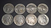 LOT OF 8 INDIAN HEAD BUFFALO NICKELS - MANY WITH DATES