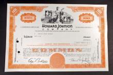 VINTAGE HOWARD JOHNSON STOCK CERTIFICATE