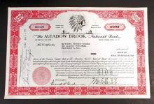 VINTAGE THE MEADOW BROOK NATIONAL BANK STOCK CERTIFICATE