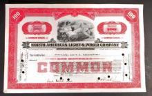 VINTAGE NORTH AMERICAN LIGHT AND POWER STOCK CERTIFICATE