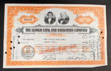 VINTAGE LEHIGH COAL AND NAVIGATION STOCK CERTIFICATE