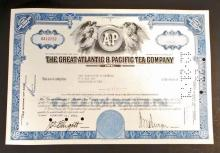 VINTAGE GREAT ATLANTIC AND PACIFIC TEA STOCK CERTIFICATE