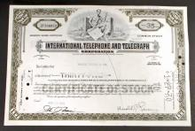 VINTAGE INTERNATIONAL TELEPHONE AND TELEGRAPH STOCK CERTIFICATE