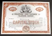 VINTAGE PHILLIPINE LONG DISTANCE TELEPHONE STOCK CERTIFICATE