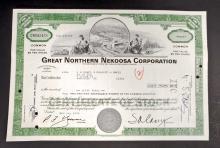 VINTAGE GREAT NORTHERN NEKOOSA PAPER STOCK CERTIFICATE